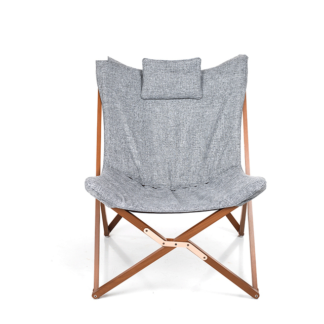 folding chair fabric big beach butterfly cushion upholstery living room furniture modern lounge leisure frame solid wood