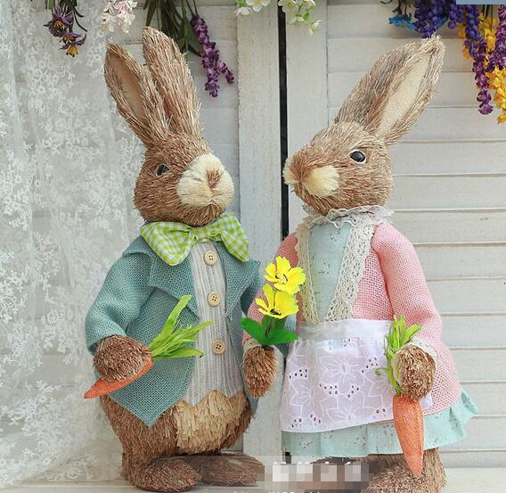high-51cm,Romantic retro palace wind lace hand Easter bunny couple decoration ornament wedding props holiday gift