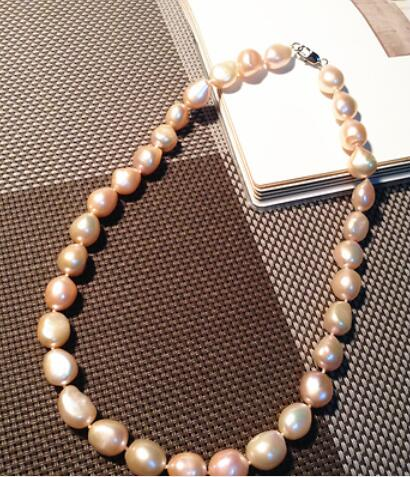 natural 11-12mm south sea gold pink baroque pearl necklace 18inch