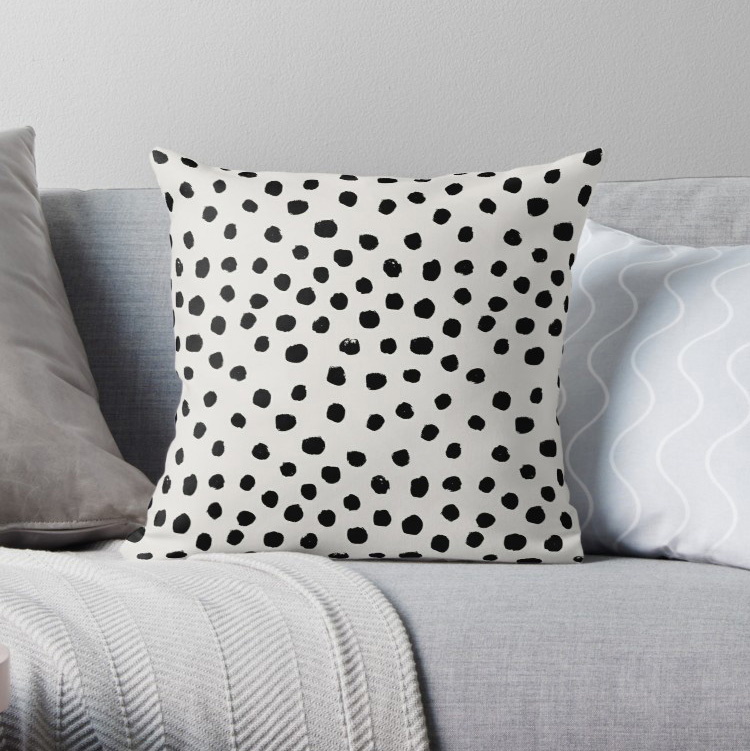 Preppy brushstroke free polka dots black white spots Pillow Covers Cases Pattern Nordic Cover Cushion Pillowcase Square Print