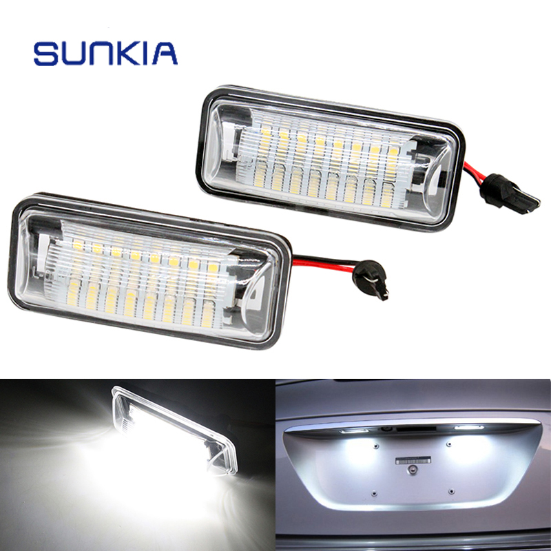 2Pcs/Set SUNKIA Canbus Error Free White 24SMD LED Number License Plate Lights For Subaru BRZ Impreza Legacy XV Crosstrek 2pcs set led license plate light error free for bmw e39 e60 e61 e70 e82 e90 e92 24smd xenon white free shipping