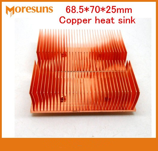 Fast Free Ship 2pcs/lot all-copper radiator 68.5*70*25mm copper heat sink free shipping 20pcs lot 6mm diameter 300mm length notebook pure copper heat pipe radiator diy sintering radiator copper tube
