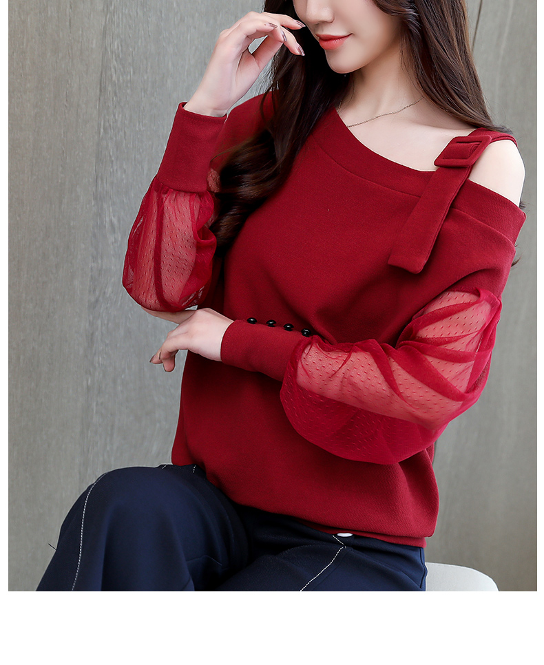 2019 Spring New Long Sleeve Shirt Women Fashion Woman Blouses Sexy Off Shoulder Top Solid Women Blouse Shirt Clothing Female (4)