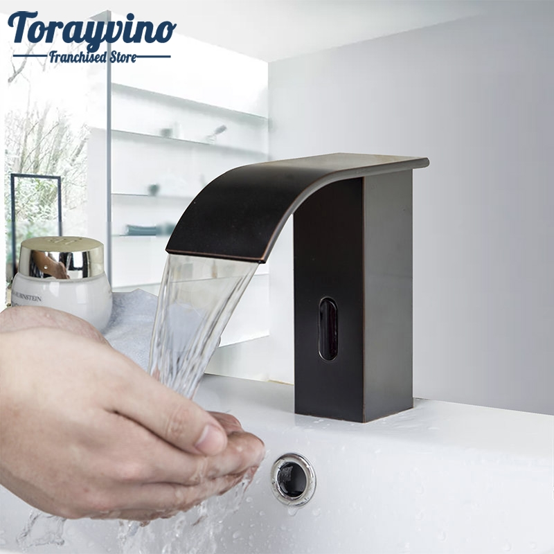 Bathroom Basin Tap Luxury Sense Faucets Sink Mixer Oil Rubber Brushed Waterfall Single Handle Hole Tap Deck Mounted Sense Faucet погружной блендер hotpoint ariston hb 0703 ac0