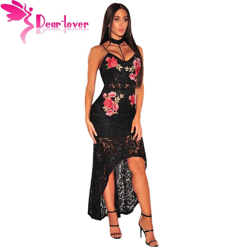 Caro Amante Mulheres Maxi Vestidos de Festa Noite de Verão Vestidos Mujer Preto Spaghetti Strap Floral Gargantilha Lace Alta Baixa Vestido LC61667