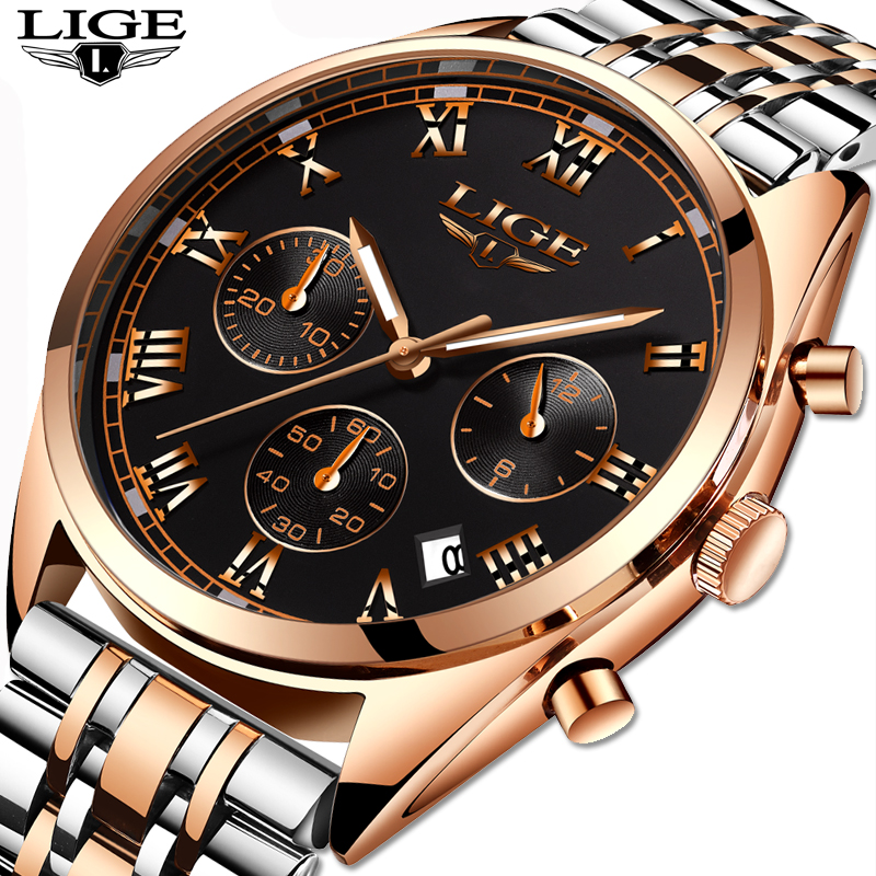 Mens Quartz Watches Men Watchs Business Sports Fashion Casual Waterproof Military Male Clock LIGE Top Luxury Brands+gift box