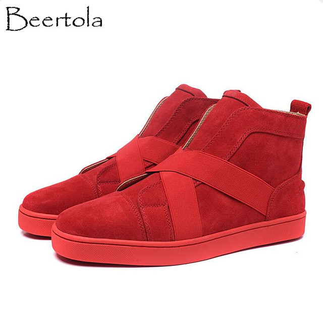 be030358196 US $93.98 15% OFF Beertola New Flock Elastic Band Sneaker Shoes Unisex Red  Bottom High Top Luxury Brand Shoes Nubuck Leather Chaussure Couple Shoe-in  ...