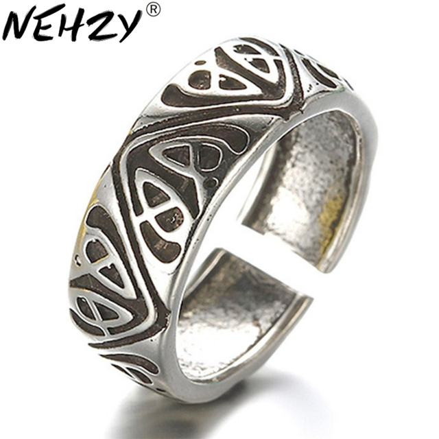 NEHZY Simple Silver flowers do the old retro ring opening ring fashion jewelry for men and women street pat (6MM + 16MM)
