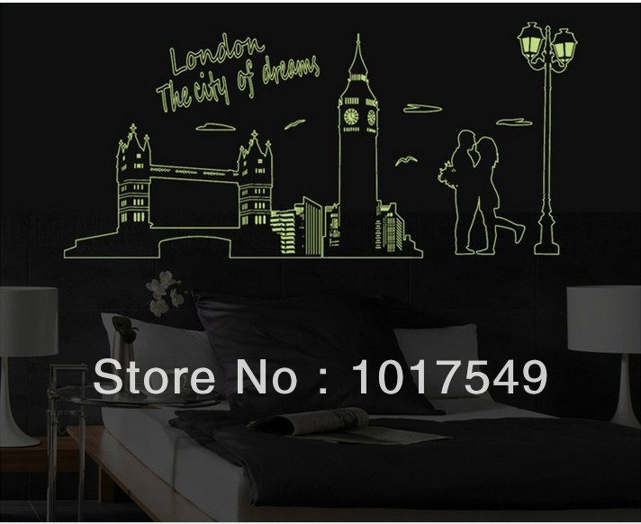... Factory Direct Sale ABQ9603 London Bridge Wall Sticker Glow In The Dark  DIY Room 60X90CM Home Part 18