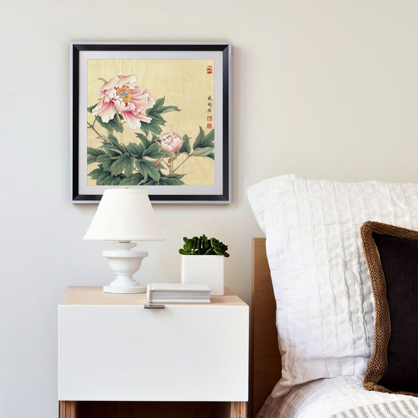 Pink Peony Chinese Paintings Flowers Picture Canvas Vintage Home Decor Art Deco Paintings On The