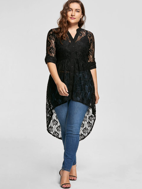 Gamiss Women Plus Size Blouse Autumn peplum Long Sleeve High Low Lace Shirts Tunic Through Button Up Women Tops and Blouse 5XL 1