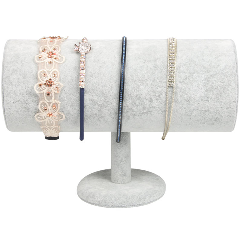 Top Luxury Gray Velvet Big T Bar Jewelry Head Band Display Stand Organizer Cylindrical Jewelry Display Showcase Holder