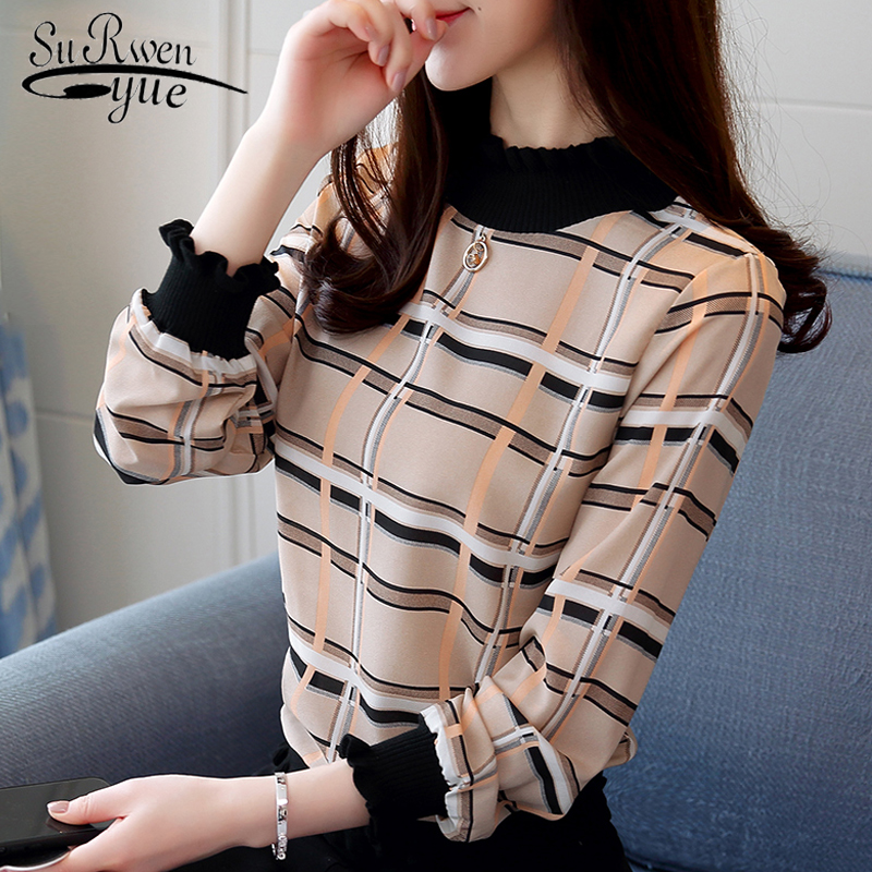 New Blusas Mujer 2020 Women Tops Clothes Long Sleeve Plaid Blouse Women Casual Plus Size Pullover Shirts Print Female 8088 50