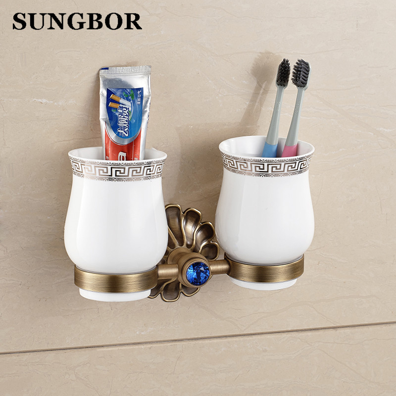 Wall Mounted Euro Antique Bathroom Double Ceramic Cup Holder Toothbrush Tumbler Holder Oil Rubbed Bathroom Accessories HY-2302F new bathroom antique double tumbler cup holder toothbrush holder bathroom accessory sanitary ware bathroom furniture sl 7808