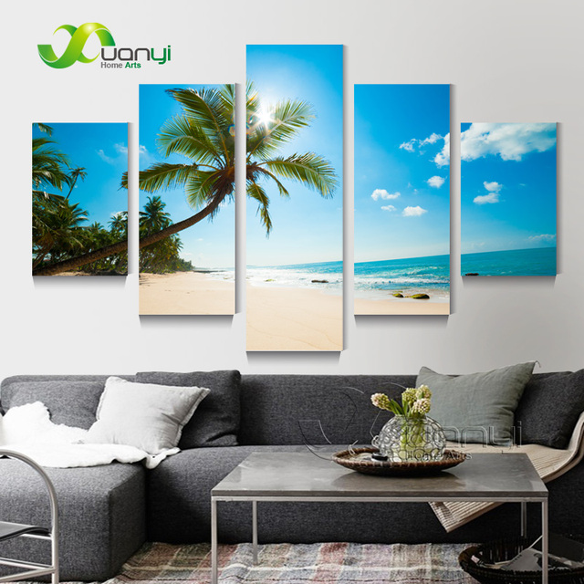 5 Panel Wall Picture Tropical Seascape Paintings Home Decor Beach For Restaurant Modern
