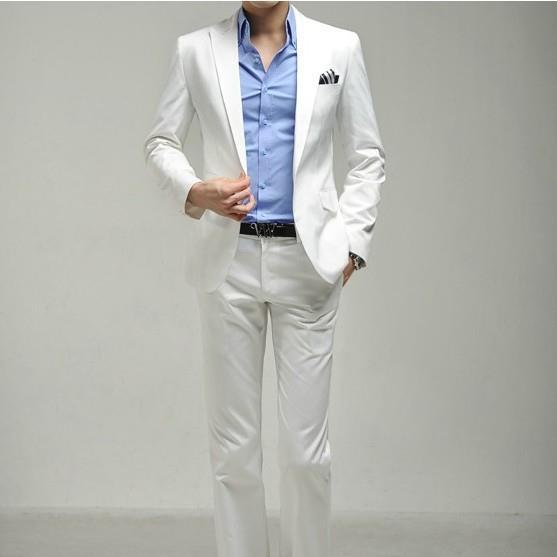 BOU 2019 costume blanc mâle coréen Slim costumes costumes de robe de mariée