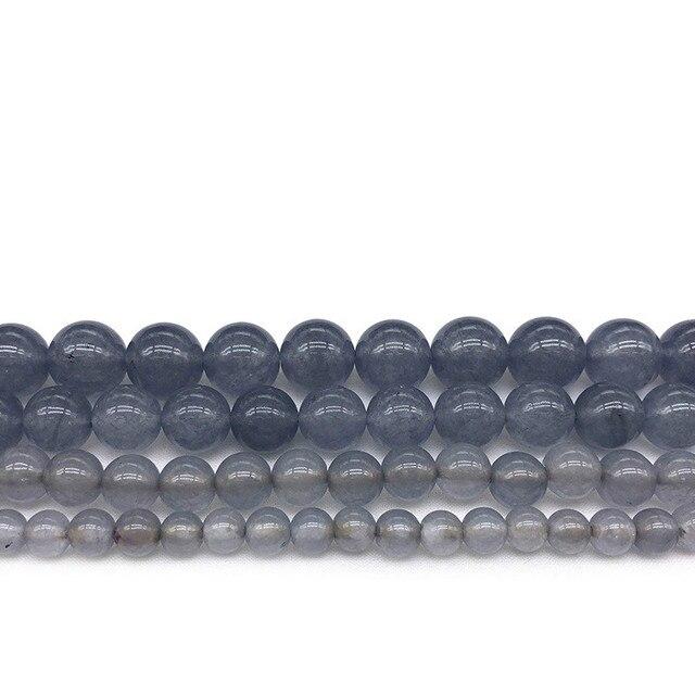 """Cena fabryczna naturalny szary Jades kamień koraliki chalcedon okrągłe koraliki do bransoletka Zrób To Sam tworzenia biżuterii 15 """"Strand 6/8 /10/12mm"""