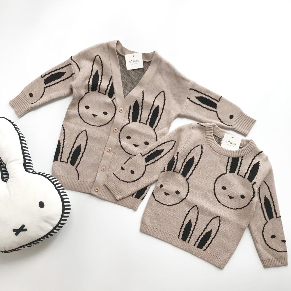 2018 New Spring Autumn Kids Jacket Cute Rabbit Pattern Cotton Kids Knitted Jacket Toddler Boy Girl Jacket men s knitted jacket