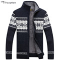 Winter Mens Cardigan 2016 New Men's Casual Sweaters Warm Plus velvet Zipper Men Cardigan Stand Collar Knitted Sweaters 3 Color