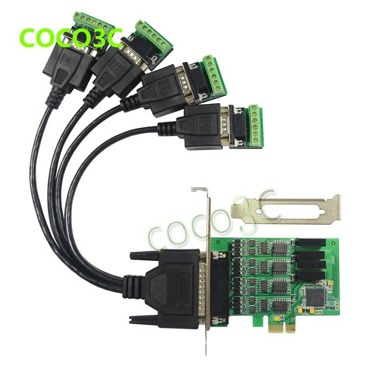 Livraison gratuite PCI-E tour 4 port RS422/485 industrielle port série carte PCI express 4-Port RS-422 RS-485 Carte Contrôleur