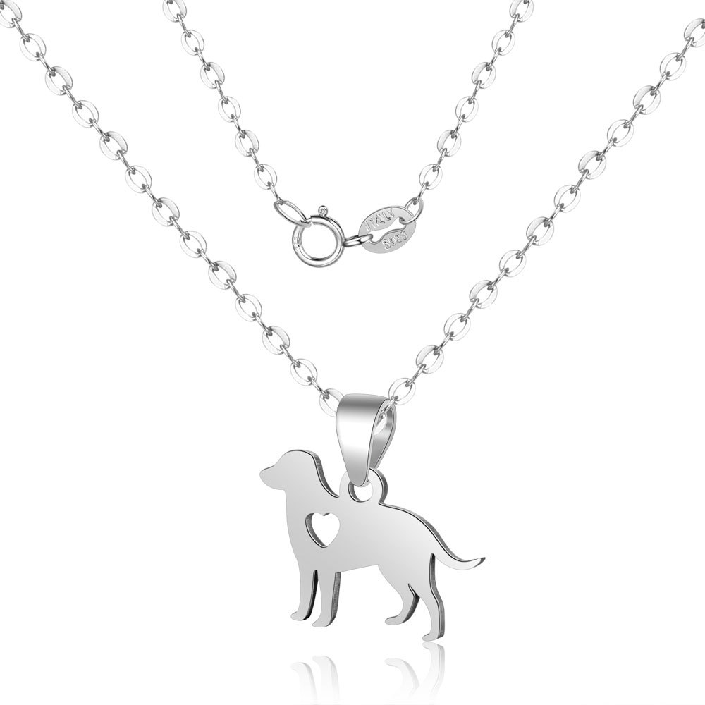 GCT1 Fashion S925 Silver Necklace Love Puppy Animal Pendant Short Miao Dog Clavicle Chain FemaleGCT1 Fashion S925 Silver Necklace Love Puppy Animal Pendant Short Miao Dog Clavicle Chain Female