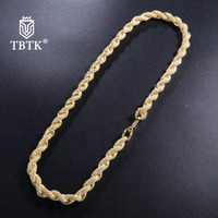 TBTK Gold Full Zircon Twisted Rope Chain Luxury Jewelry Unisex Western Style Long Copper Choker Free shipping Necklace Trendy