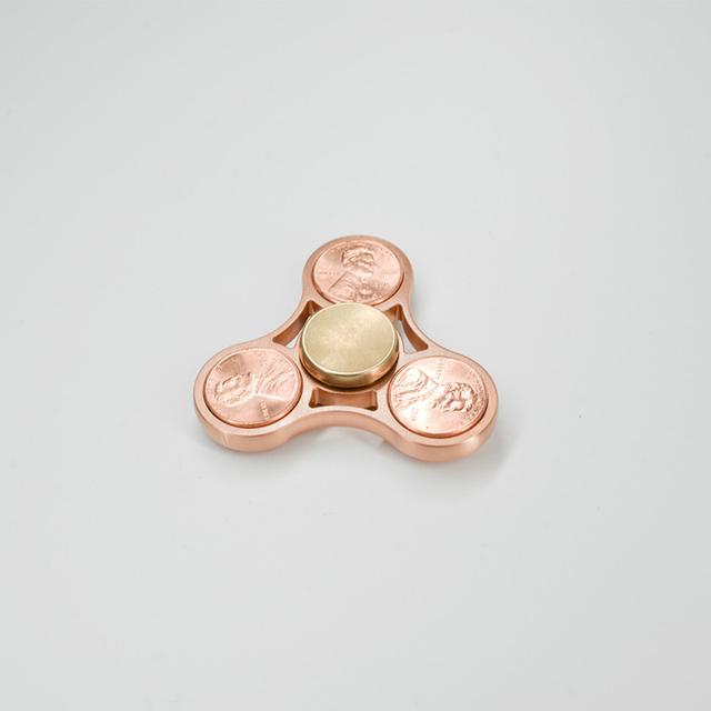 Limitada Real Penny 6 Moedas Mão Spinner Spinner Red Copper Fidget Brinquedo EDC Rolamentos De Cerâmica