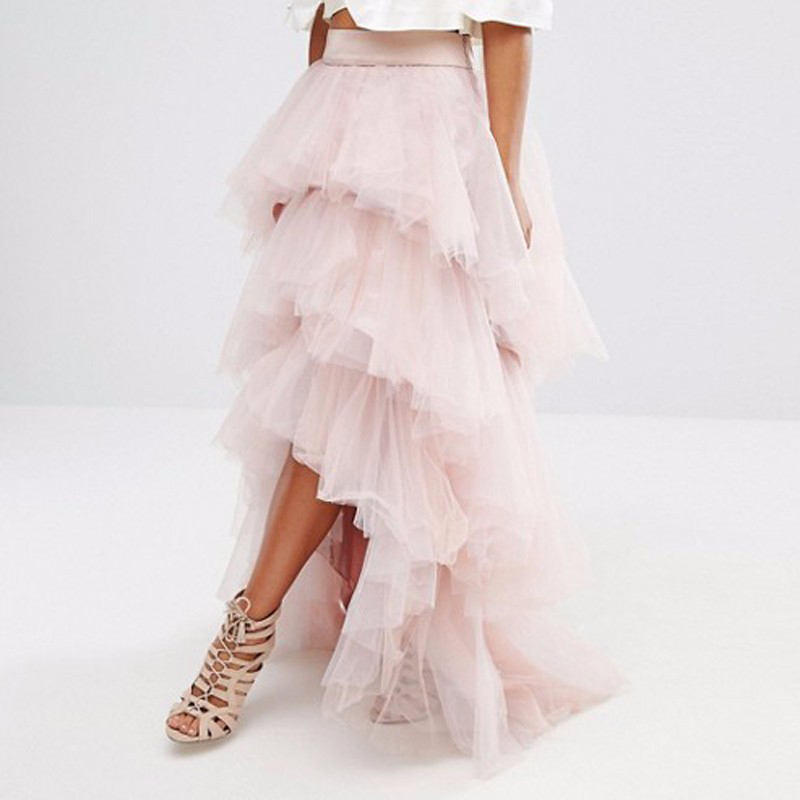 Aliexpress Com Buy Hi Low Tiered Dusty Pink Tulle Skirt