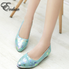 New pu printing leather Sweet Print Pumps Ladies Elegant  Pointed Toe thick low Heels slip-on Shoes women Shoes large size 33-48