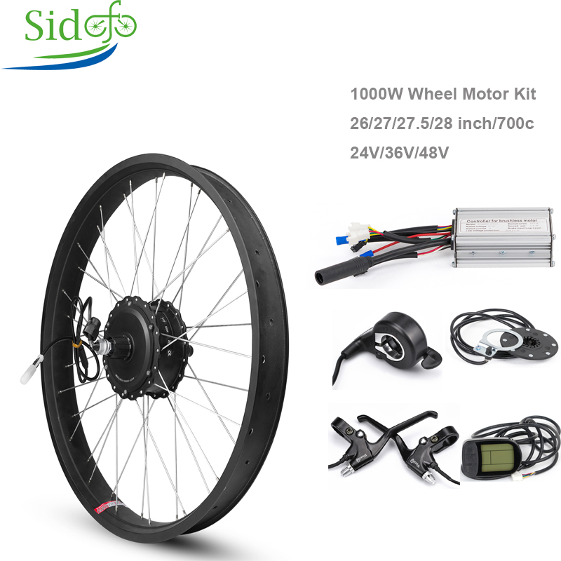Fat bike Conversion kit 1000W 48V Gear Brushless Hub Motor Cycling Electric bicycle rear wheel motor 26 28inch Snowmobile 0.2