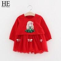 HE Hello Enjoy Baby Girl Dress Spring Autumn Cartoon Print Long Sleeve Sweater Sling Dress 2pcs