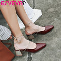 ESVEVA 2017 Western Style Med  Heel Woman Pumps Spring Autumn Lace Up Shoes Women Square Toe Elegant Wedding Shoes Size 34-43