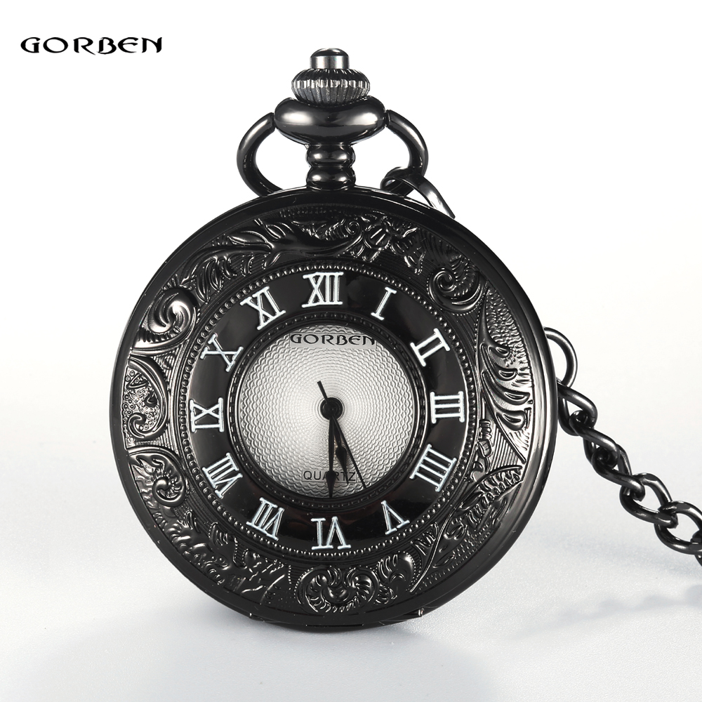 GORBEN Watch Antique Hollow Quartz Pocket Watches White Roman Numeral Dial Men Women Pocket Watches Fob Chain Necklace Gifts 2017 hot sell quartz pocket watch fob watches vintage hollow necklace pendant retro clock with chain gifts ll 17