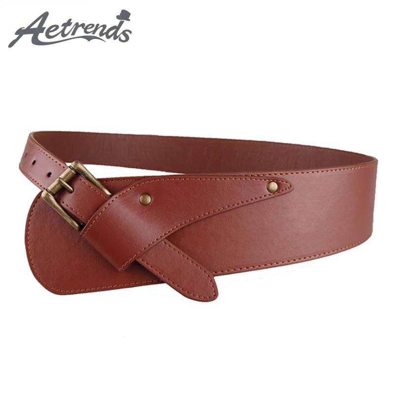 [AETRENDS] PU Leather Cinch Belt Luxury Europe Style Strap Pin Buckle Hip Belts Waistband Women Cummerbunds D-0096