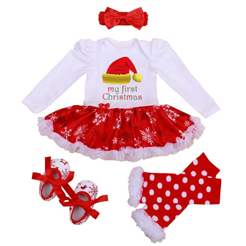 2018 New Christmas Baby Costumes Dress Clothes Infant Toddler Baby Girls My First Christmas Outfits Newborn Christmas Romper Set newborn baby girl my first christmas tops romper skirt headband clothes outfits