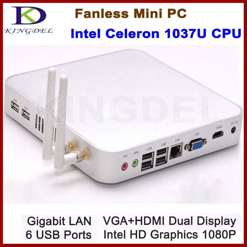 Intel Celeron 1037U Fanless Mini Computer Thin Client PC Barebone WiFi 1080P HDMI Metal Case Intel HD Graphics 6 USB port