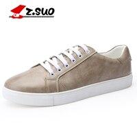 Z. SUO осень-зима Для мужчин вулканическая обувь большой Размеры 36-48 Туфли без каблуков мужской моды Повседневное на шнуровке обувь на платфор...