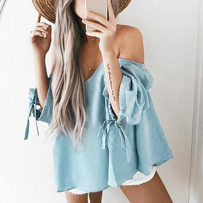 Summer Sexy Off Shoulder White Blouse Pleated Shirt Striped Beach Slash Neck Women Tops Feminine Crop Top Blusas 2018