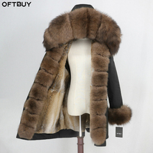 OFTBUY กันน้ำ Parka ขนสัตว์จริงฤดูหนาวแจ็คเก็ตผู้หญิงขนสุนัขจิ้งจอกธรรมชาติคอ Hood ขนสัตว์กระต่ายจริง Liner Warm Streetwear ใหม่