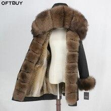 OFTBUY Waterdichte Parka Echte Bontjas Winterjas Vrouwen Natuurlijke Fox Bontkraag Hood Real Konijnenbont Voering Warm Streetwear nieuwe