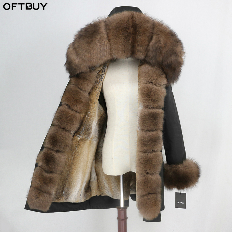 OFTBUY Waterproof Parka Real Fur Coat Winter Jacket Women Natural Fox Fur Collar Hood Real Rabbit Fur Liner Warm Streetwear New