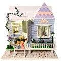 13819 Хонгда Большой Праздник дома вилла diy деревянный кукольный домик миниатюрный звуковой светлый дом для куклы девушки подарки