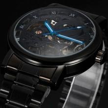 2016 nueva marca sewor skeleton hombres huecos de acero macho reloj militar del ejército del deporte mecánico automático de pulsera regalo reloj del negocio