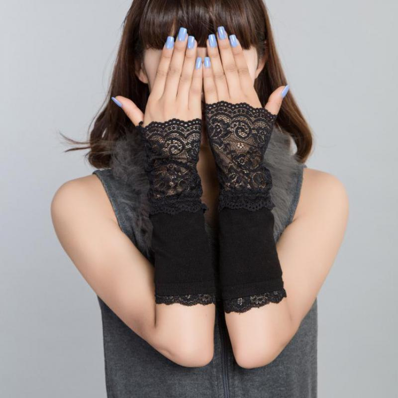 New Spring Winter Black Women Lace Gloves Long Wrist Fingerless Mittens Cotton Lace Sleeve Glove Driving Female Gloves AGB639