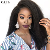 Kinky Straight Wig 250% Density Lace Front Human Hair Wigs Pre Plucked For Women Brazilian Lace Front Wig Virgin Hair CARA
