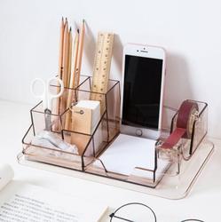 Transparent Desk Organizer Student Stationery Storage Box Multi-function Office Accessories Pen Holder