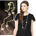 N2016063010 Fashion Vintage Jewelry Simulated Pearl Necklace Long Sweater Chain flower  Necklace For Women