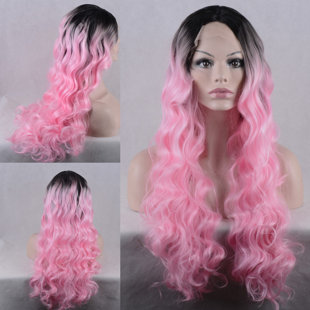 ФОТО Lace Front Wig Pink Long Wavy Hairstyles Ombre Synthesis Heat Resistant Fiber Wigs Free shipping