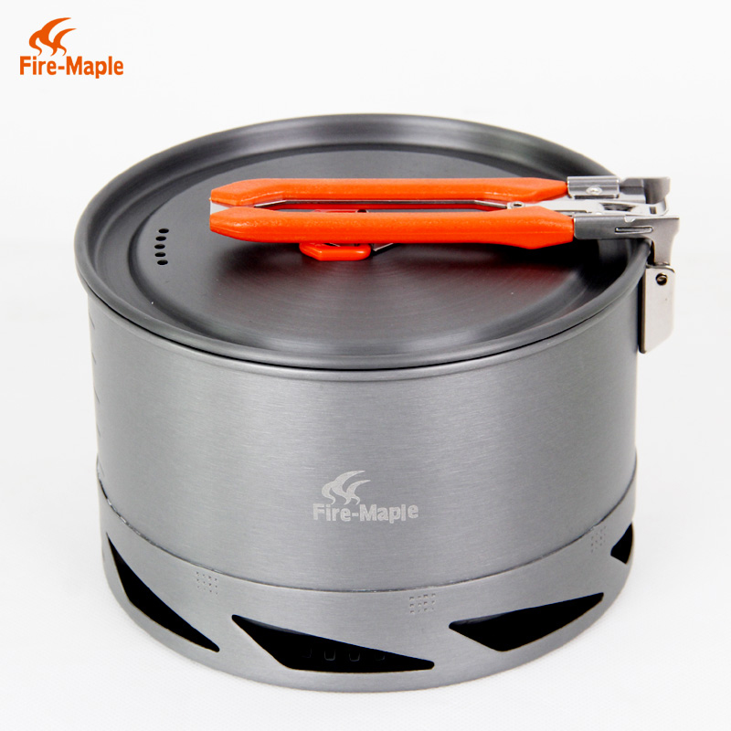 лучшая цена Hot Sale 1.5L Portable Heat Exchanger Pot Outdoor Camping Kettle Picnic Cookware Fire Maple K2 338g