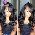 7A Body Wave Full Lace Wigs Brazilian Virgin Hair Lace Front Human Hair Wigs with Bangs for Black Women 8-26inch Free Shipping